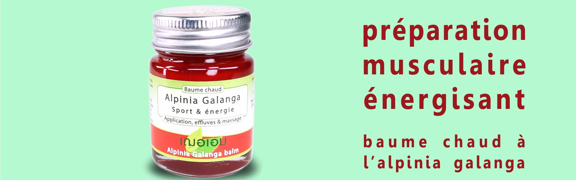 En Thaïlande, le rhizome d'Alpinia Galanga incorporé en baume chaud est appliqué pour son effet relaxant musculaire & stimulant circulatoire. Ses effluves énergisantes & revigorantes seront appréciées lors du sport.