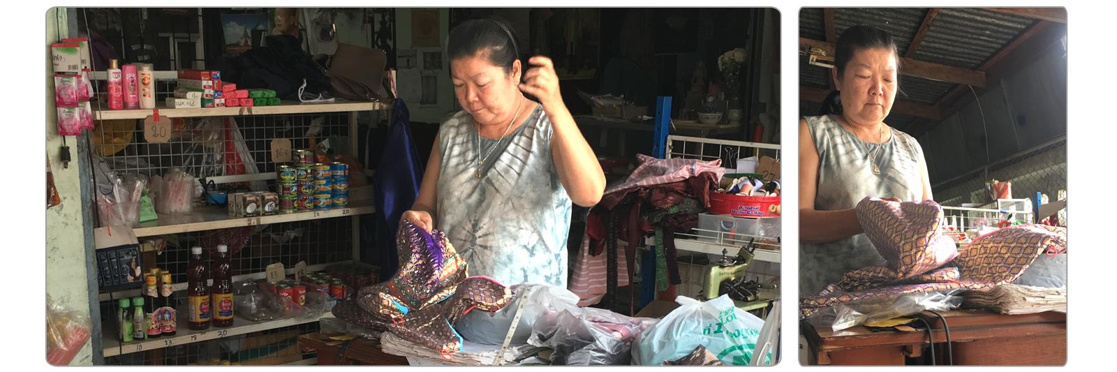 Bonnet de soin capillaire confectionné à la main par Junthana et une voisine d'Udon Thani.