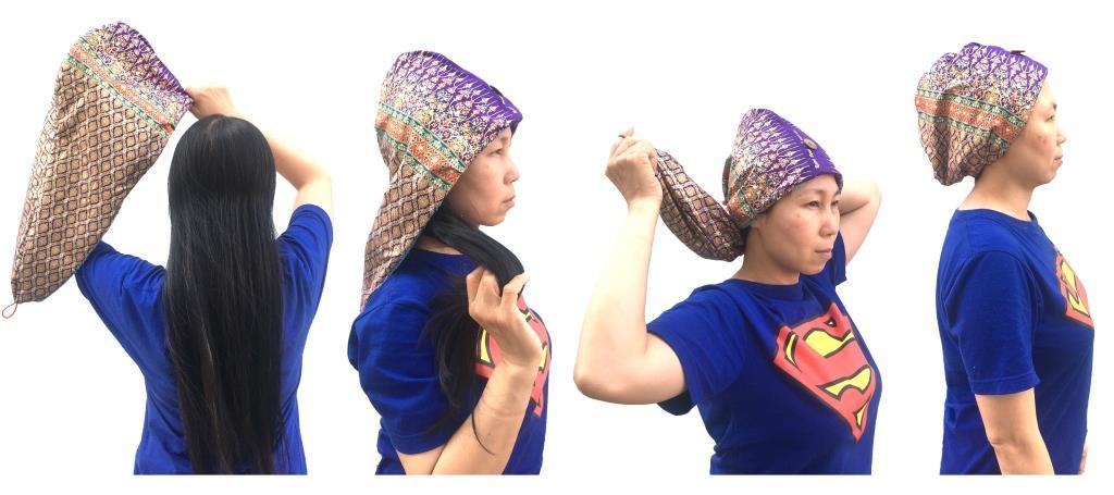 Mise en place du bonnet de soin des cheveux
