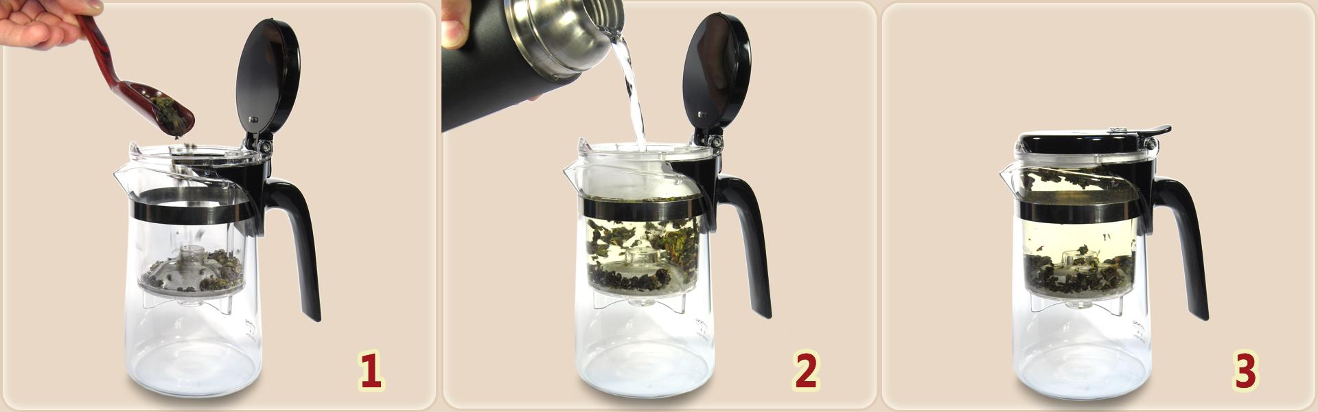 Fonctionnement de la théière avec infuseur : 1. Dosez les feuilles de thé dans l'infuseur. 2. Versez l'eau chaude dans l'infuseur. 3. Patientez...